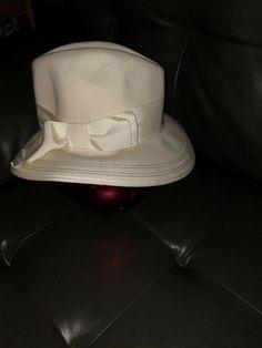 fc571e4e413 Vintage Betmar Ivory 100% Wool Wide Brim with Wide Ribbon Ladies Hat   Betmar