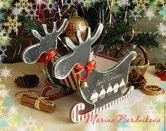 """Купить Новогодние саночки """"Sweet Christmas"""" - комбинированный, санки, Саночки, Новый Год, новый год 2017"""
