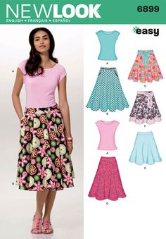 Another simple skirt pattern. Womens Easy Skirts and Knit Top Sewing Pattern 6899 New Look Skirt Patterns Sewing, Simplicity Sewing Patterns, Clothing Patterns, Shirt Patterns, Pattern Sewing, New Look Skirts, Full Skirts, Women's Skirts, New Look Patterns