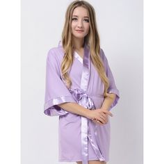 Lavender Jersey Stretchy Robes With Satin Trim Purple Robes Cheap Bridesmaid Robes Modal Wedding Robes Bridesmaid Robes, Lavender, Satin, Wedding Ideas, Purple, Fashion, Moda, Fashion Styles, Bride Maid Dresses