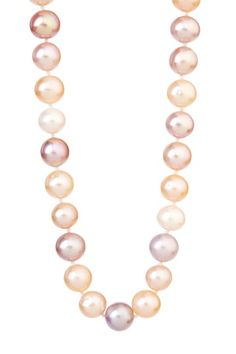 14K Yellow Gold 9-10mm Natural Multicolor Freshwater Pearl Necklace