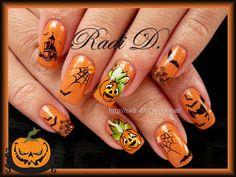 #Halloween nail art design - #pumpkins