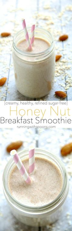 Honey Nut Breakfast Smoothie -- start your day off on the right foot with this creamy and comforting smoothie that combines the simple flavours of honey and nuts in a wholesome and satisfying breakfast!    runningwithspoons.com