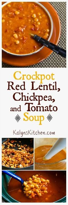Crockpot Red Lentil, Chickpea, and Tomato Soup with Smoked Paprika; this is a delicious soup that freezes well and is perfect for Meatless Monday. Chili Recipes, Soup Recipes, Whole Food Recipes, Vegetarian Recipes, Healthy Recipes, Vegan Soups, Healthy Snacks, Recipies, Crock Pot Soup