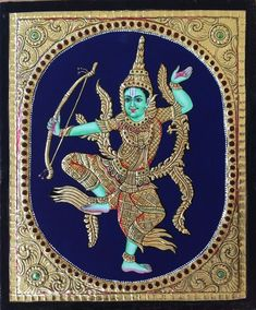 Tanjore Indonesian Rama Painting Handmade South Indian Thanjavur Gold Relief Art Mughal Paintings, Indian Paintings, Nature Paintings, Paintings For Sale, Ganesha Painting, Tanjore Painting, Rajasthani Art, Form Drawing, Religious Paintings