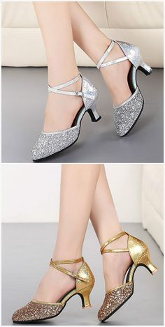 The dance shoes feature pointed toe, sequins decoration, ankle cross strap and medium heels. We also have cm and cm heels dance shoes, if necessary, you can e-mail to customer service. Fancy Shoes, Trendy Shoes, Cute Shoes, Me Too Shoes, Silver Wedding Shoes, Silver Shoes, Bride Shoes, Prom Shoes, Shoes Heels Wedges