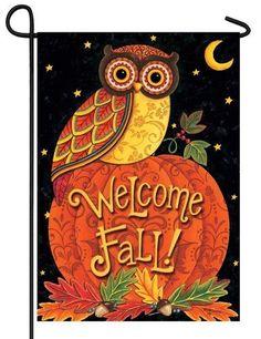 Welcome Fall Owl Garden Flag