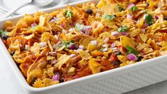 Plan ahead and put this party-ready casserole in the freezer for your next big get-together! Once it's thawed, top with tortilla chips, and bake for a cheesy-crunchy crowd pleaser that packs tons of flavor and just the right amount of heat. Pasta Casserole, Casserole Recipes, Tortilla Casserole, Pasta Bake, Chicken Casserole, Cheeseburger Casserole, Make Ahead Meals, Freezer Meals, Freezer Chicken