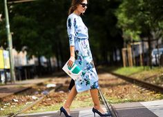 One of the most eye-catching women on the street style scene right now: Patricia Manfield of The Atelier in a floral feminine dress