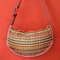Soda pop-top shoulder bag, 'Rainbow Wishes' - Hand Crafted Recycled Aluminum Shoulder Bag #fairtrade #upcycled