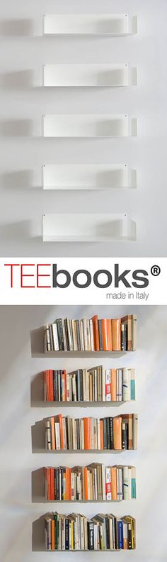 If you love books but you don't like bookcases, your problem just got solved ! when it's completely covered with books, the shelves become almost invisible to the eye. TEEbooks by Mauro Canfori Painted Bookshelves, Bookshelves In Bedroom, Bookcase Shelves, Bookcases, Floating Shelves Bedroom, Floating Bookshelves, Invisible Bookshelf, Contemporary Shelving, Bibliotheque Design