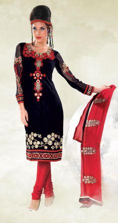 Black And Red Cotton Salwar Kameez 15375