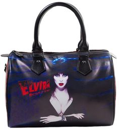 KREEPSVILLE 666 ELVIRA RED GLITTER PURSE - Where are all my ghouls at? This red glitter with a flock-like skull pattern is printed on a glossy vinyl with the one and only Elvira Mistress of the Dark! This purse features a red satin lining with zip pocket and smaller interior pockets, removable shoulder strap. It is finished off with Kreepsville signature coffin zipper pulls.