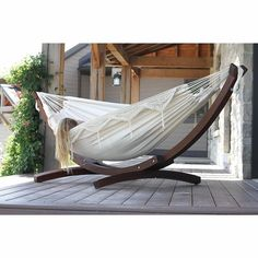 Wooden Hammock Stand, Double Hammock With Stand, Stand Alone Hammock, Backyard Furniture, Outdoor Furniture, Outdoor Decor, Outdoor Ideas, Indoor Hammock Bed