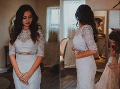 Moonlight Real Bride, Rachael in our lace crop-top two-piece wedding gown with 3/4 sleeves. The ultimate bohemian wedding gown for her summer wedding