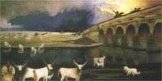"""""""Vihar a Hortobágyon"""" (Storm on the Hortobágy) by Csontváry Kosztka Tivadar, currently held at the Hungarian National Gallery, Budapest, Hungary Post Impressionism, Art Database, Pilgrimage, Animal Paintings, Love Art, Oeuvre D'art, Great Artists, Painting & Drawing, Canvas Art"""