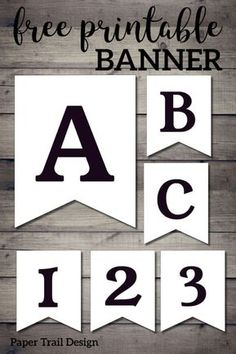 Free Printable Black and White Banner Letters. Make a custom banner for a birthday party, baby shower, wedding, or party. Free Printable Banner Letters, Free Banner, Make A Banner, Free Printable Birthday Banner, Diy Banner, Birthday Banners, Birthday Invitations, Graduation Banner, Paper Trail