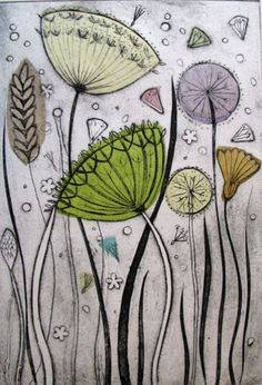 Diana Croft often uses chine colle techniques (applying layers of handmade tissu. Fabric Painting, Fabric Art, Stoff Design, Free Motion Embroidery, Sewing Art, Linocut Prints, Botanical Art, Doodle Art, Textile Art