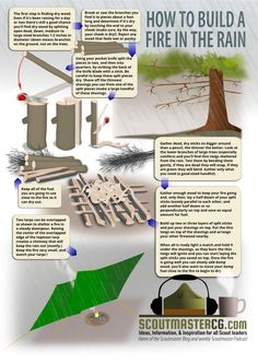 How to Build a Fire in the Rain   Survival Prepping Ideas, Survival Gear, Skills & Emergency Preparedness Tips by Survival Life at http://survivallife.com/2014/06/10/disaster-preparedness-camping-in-the-rain/