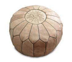 Moroccan Leather Pouffe ( Light Tan )