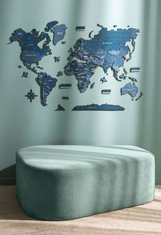 DEEP OCEAN: 3D World Wooden Map by GaDenMap. Wood World Map is a unique wall décor idea