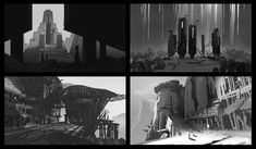"""Composition Thumbnails done to help me brainstorm my next idea. Just focusing on staging, lighting, and cool shapes. Sci Fi Background, Landscape Background, Animation Background, Composition Drawing, Composition Design, Environment Painting, Environment Concept Art, Value Painting, Cool Shapes"