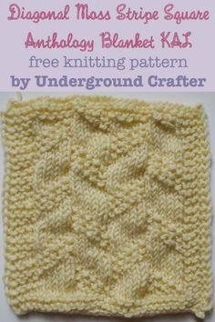 Diagonal Moss Stripe Square, free knitting pattern by Underground Crafter | Anthology Blanket KAL