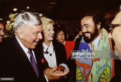 Luciano Pavarotti, Frank Sinatra and Barbara Sinatra chat after the Three Tenors concert at Dodger Stadium, July 16th, 1994 in Los Angeles. The concert is programmed to coincide with the end of the 1994 World Cup.