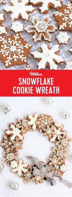 Snowflake Cookie Wreath - This beautiful snowflake gingerbread cookie wreath would make a stunning gift or centerpiece decoration for a festive table at your holiday party. You can also package them individually or use them as tree decorations. #christmascookies #gingerbreadcookies #christmaswreath #cookies #wiltoncakes