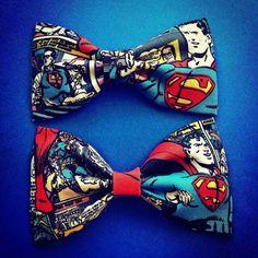 DC Comics Vintage Superman print handmade fabric bow tie or hair bow on Etsy, $5.50