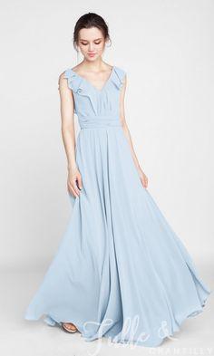 Ruffled V-neck Chiffon Long Bridesmaid Dress TBQP387 5c041bf4c7ca