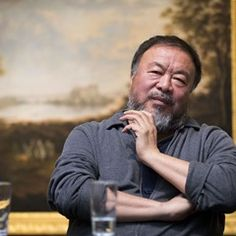 Chinese artist Ai Weiwei speaks at the Galerie Alte & Neue Meister in Schwerin, Germany