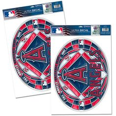 """Los Angeles Angels of Anaheim Stained Glass Decal Set $13.99 Great for Home decor  Removable and unbreakable Art and printing utilizes a transparent technique Cut into a unique oval shape  Measures 11""""x17"""" Apply to your window and it transforms your window to that beautiful stained glass look! Made in the USA  Officially licensed by Major League Baseball"""