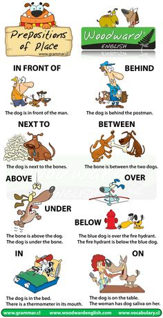 Chart demonstrating prepositions of Place in English