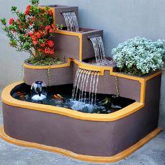 Diy Water Fountain, Diy Garden Fountains, Home Room Design, Home Interior Design, House Design, Diy Furniture Decor, Diy Crafts For Home Decor, Ponds Backyard, Diy Projects