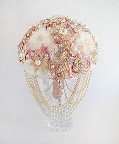 Brooch Bouquet Bridal Bouquet Rose Gold Wedding by TatyanaAgulina
