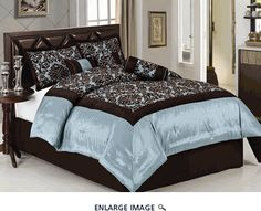 11 Piece Queen Blue and Coffee Flocked Bed in a Bag Set