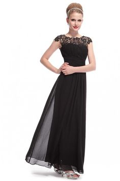 Sheer Lace Neckline Open Back Ruched Bridesmaid Dress - Black