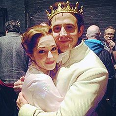 Laura Osnes and Santino Fontana share an embrace after her last show as Cinderella. So many feels. Rodgers And Hammerstein's Cinderella, Cinderella Broadway, Theatre Shows, Musical Theatre, Laura Osnes, Tuck Everlasting, Bonnie N Clyde, Theatre Costumes, Stage Play