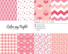 Digital Paper Pink 'Pack01' Chevron Gingham Drops by ColorMyNight