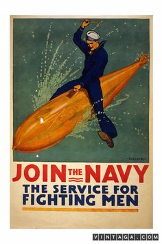 Join the Navy - The Service for Fighting Men - Vintage Poster
