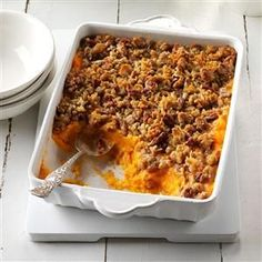 Sweet Potato, Orange & Pineapple Crunch Recipe- Recipes I combined my two absolute favorite sweet potato casseroles in the world to create my own version for the holiday table. Pineapple Casserole, Sweet Potato Casserole, Sweet Potato Recipes, Vegetable Casserole, Potluck Side Dishes, Main Dishes, Crunch Recipe, Pineapple Recipes, Thanksgiving Recipes