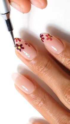 All You Need Is, Gel Nails, Acrylic Nails, Dotting Tool, Flower Nails, Bad Hair Day, Almond Nails, Fall Flowers, Nail Art Designs