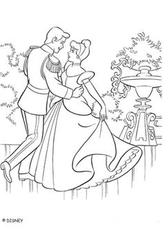 Cinderella coloring book pages - Ball