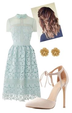"""Classy Blue Dress"" by whitneyrsmith ❤ liked on Polyvore featuring Charlotte Russe and Miriam Haskell"