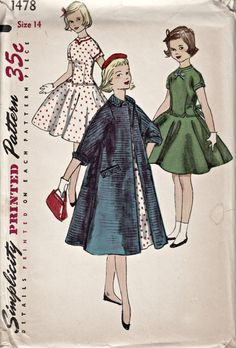 1950's Girl's One-Piece Dress and Coat Pattern by ShellMakeYouFlip