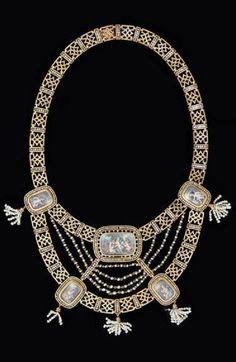 Antique bayadere necklace, Auguste Perrette c1856