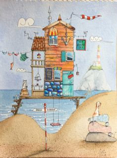 Watercolour beach hut & lighthouse