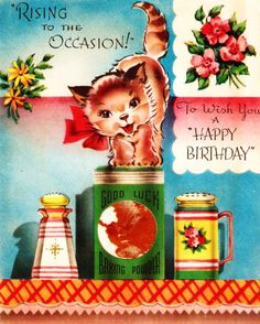Vintage Birthday Card Kitten In the Kitchen
