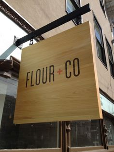 Flour + Co Hanging Sign | Martin Sign Co. Inc. | Custom Signs | Business Signs | Window Covering | 3D Letters